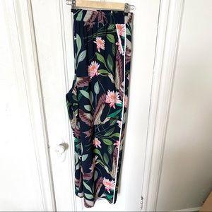 Eloquii Flowy Navy Floral Printed Ankle Pants